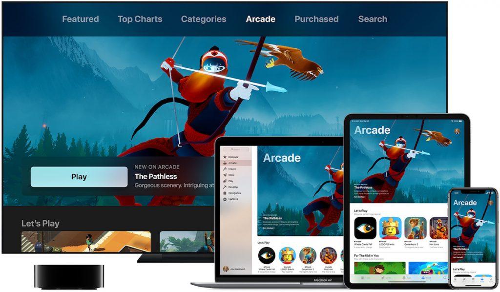 Vários equipamentos Apple a usar Arcade