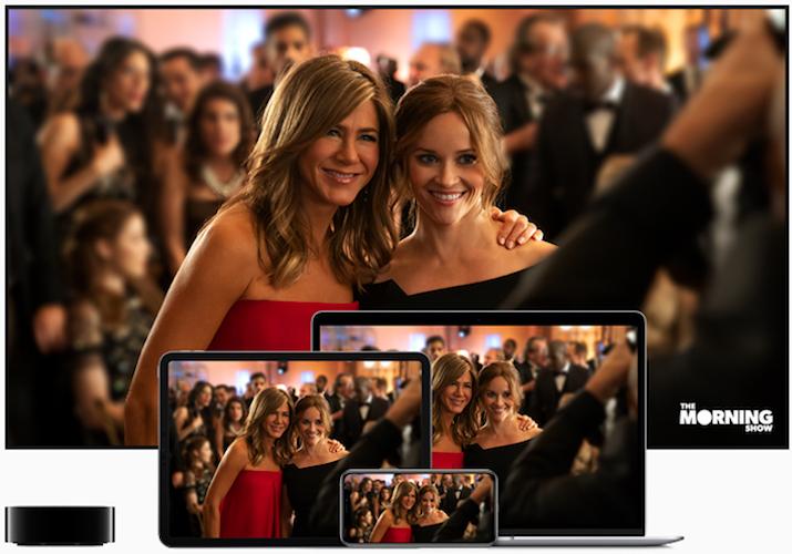 Vários dispositivos Apple a mostrar a nova TV da mesma marca
