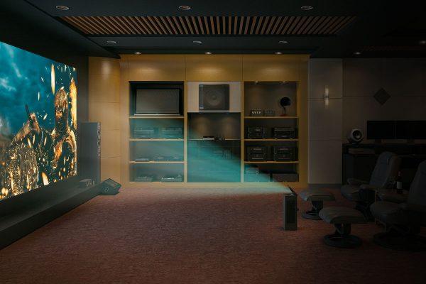 Sala home cinema com video projetor