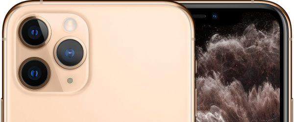 Parte superior traseira e um pouco da frontal do iPhone 11 beje