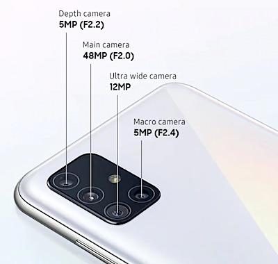 Câmaras fotográficas do Samsung Galaxy A51