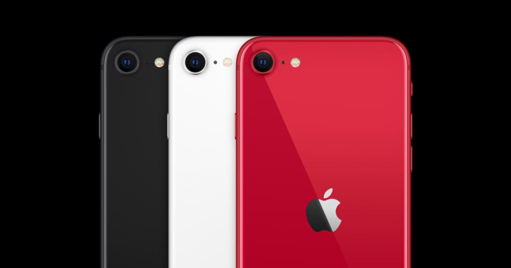iPhone SE preto, branco e vermelho