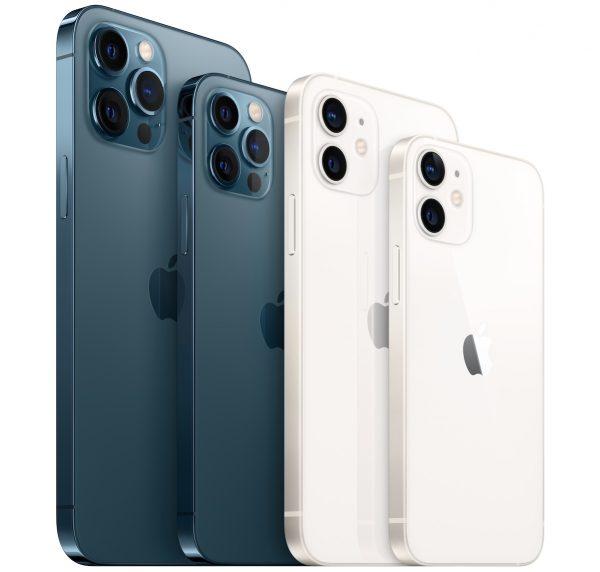 """Família iPhone 12"": iPhone 12 Pro Max, iPhone 12 Pro, iPhone 12, iPhone 12 mini (da esq. p/ dir.)"