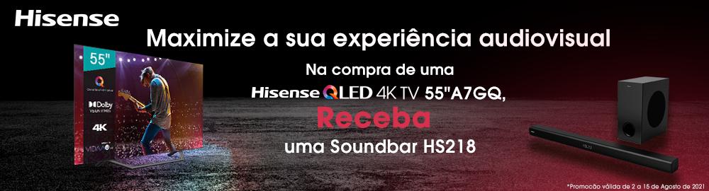Hisense oferece soundbar HS218 na compra da TV A7GQ!